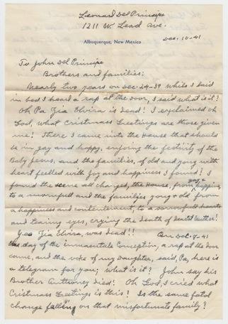 Letter from Cousin Leonard Del Principe Front