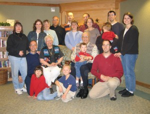 Harry and Yvonne with their descendants.