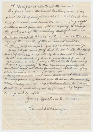 Letter from Cousin Leonard Del Principe Back