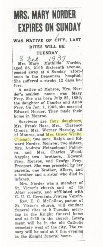 Mary Matilda Frey Norder Obituary